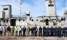 Buque ExSantos listo para ser sumergido en el Mar de Cortés