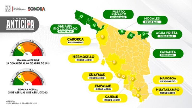 Con tendencia a la alza cinco municipios en el Mapa Sonora Anticipa
