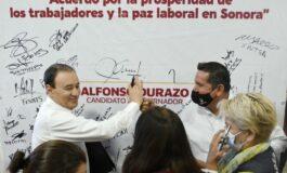 """Firma Alfonso Durazo, """"Acuerdo por la prosperidad de los trabajadores y la paz laboral""""."""