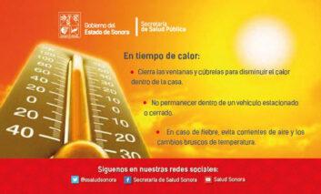 Reitera Salud Sonora llamado a extremar precauciones ante altas temperaturas