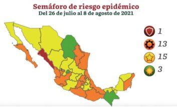 Tres estados continúan en verde en medio de la tercera ola por COVID; 13 están en naranja