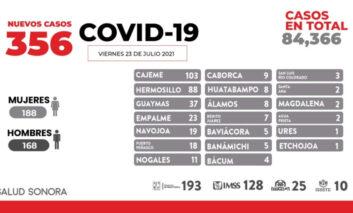 Este día se confirmaron 6 decesos y 356 nuevos casos positivos en Sonora