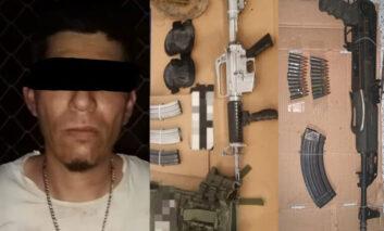 Aseguran PESP y SEDENA a persona armada con equipo táctico en Cajeme
