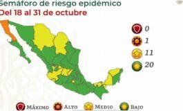 México se pinta de verde en el Semáforo covid; 20 estados están en riesgo bajo